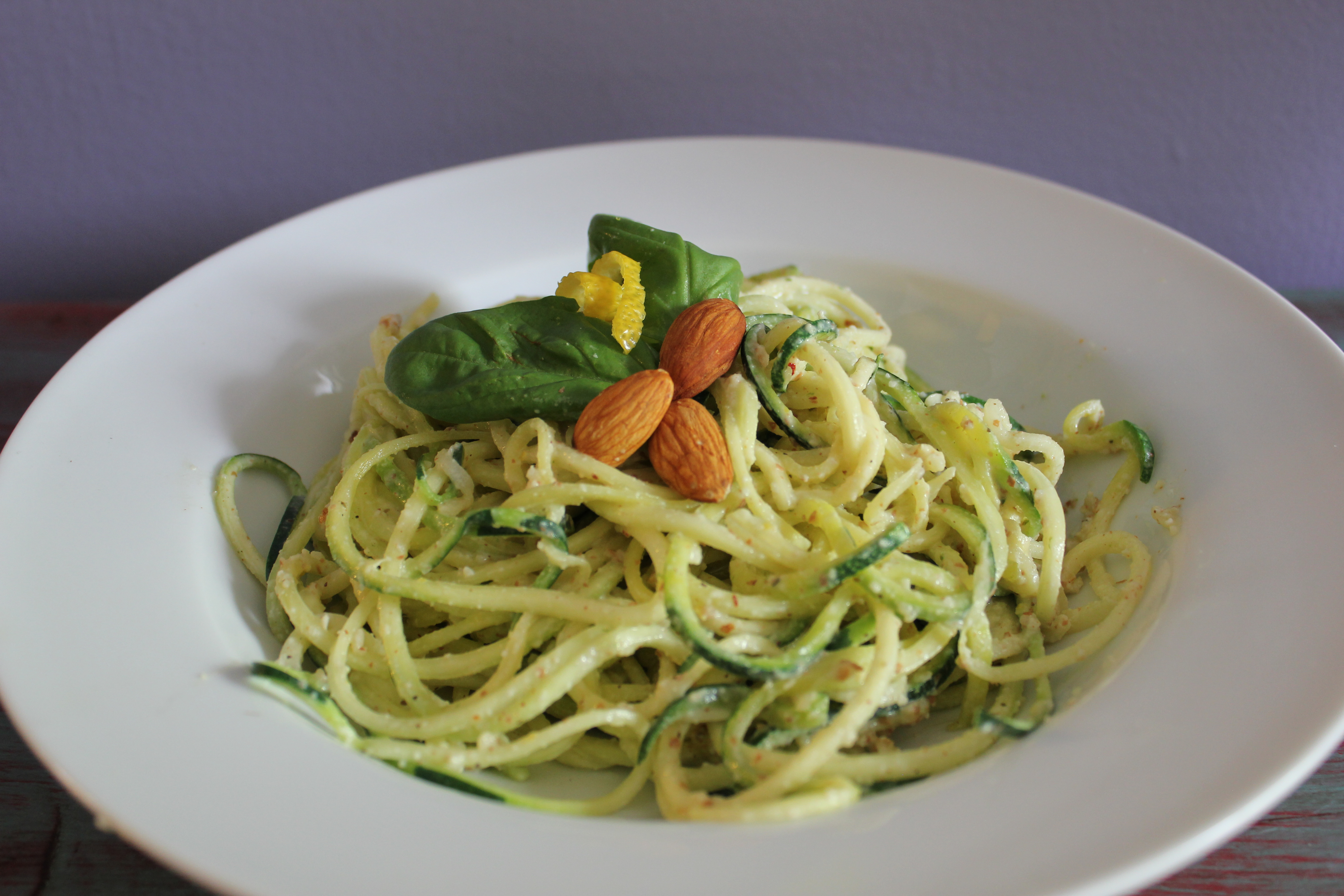 Lemon Almond Pesto with Zucchini Noodles