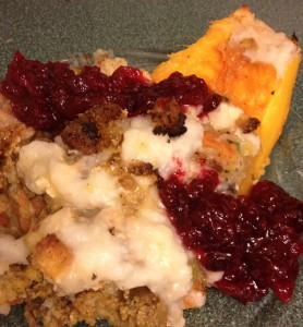 Roasted pumpkin stuffed thanksgiving cranberry sauce