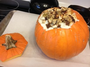 roasted stuffed pumpkin thanksgiving leftovers before baking