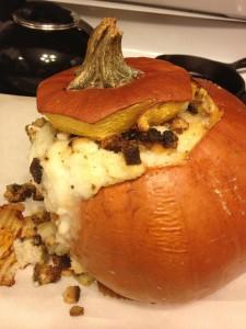 roasted stuffed pumpkin baked thanksgiving leftovers