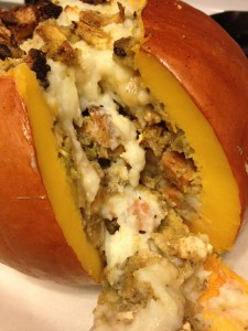 roasted stuffed pumpkin thanksgiving leftovers