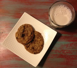 Chocolate Toffee Cranberry Oatmeal Cookies with Milk