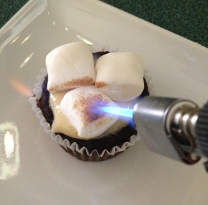 In Johnnas Kitchen roasting marshmallows for s'mores cupcakes