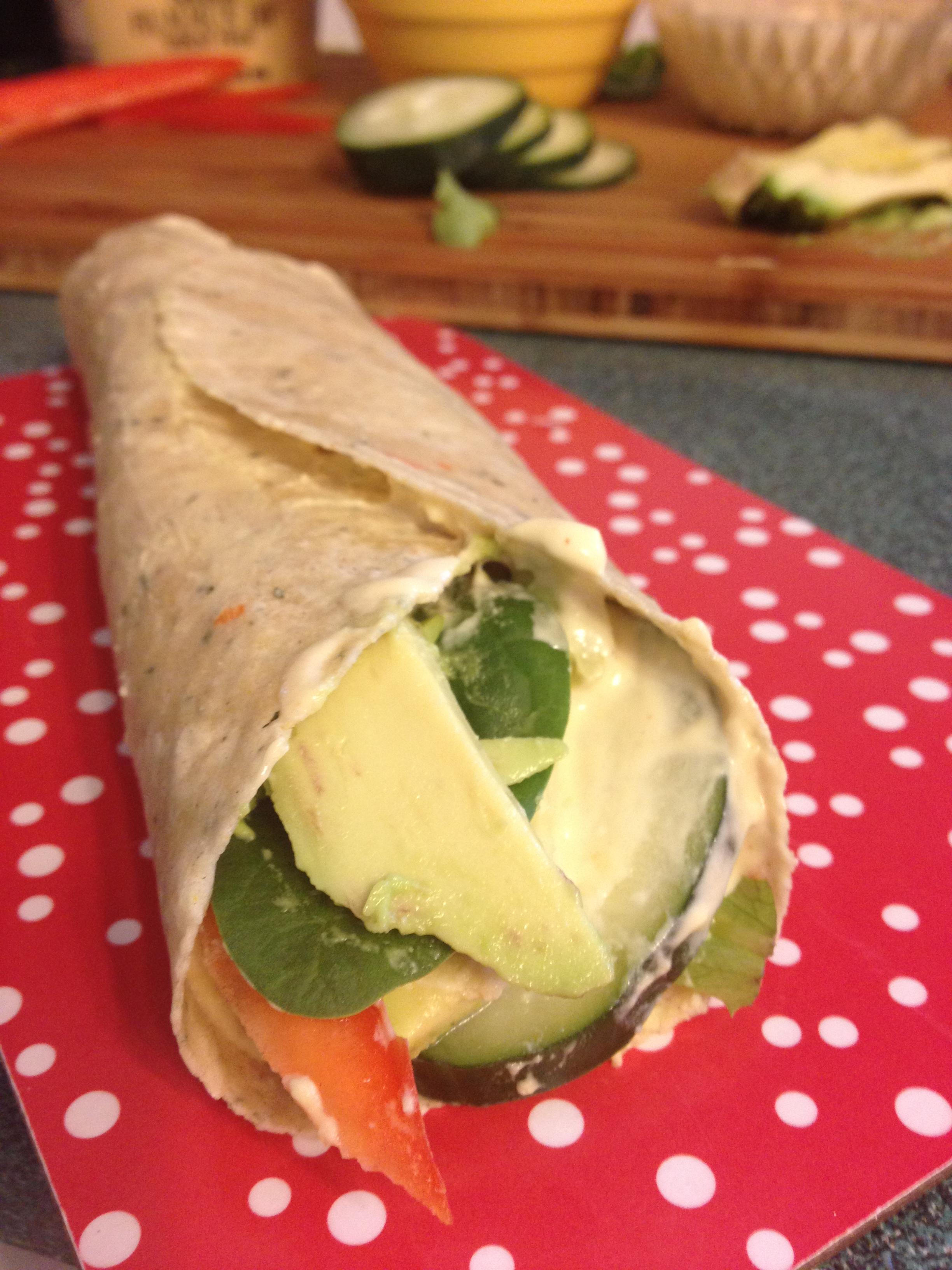 Hummus Wrap, gluten-free, dairy-free, vegan