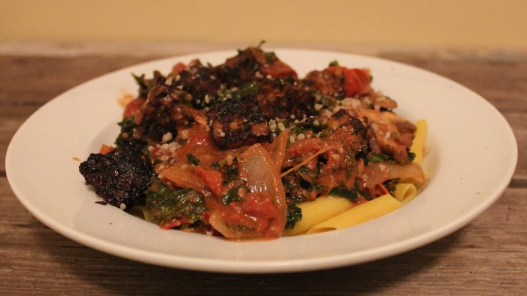 Italian Pan-Seared Tempeh over pasta