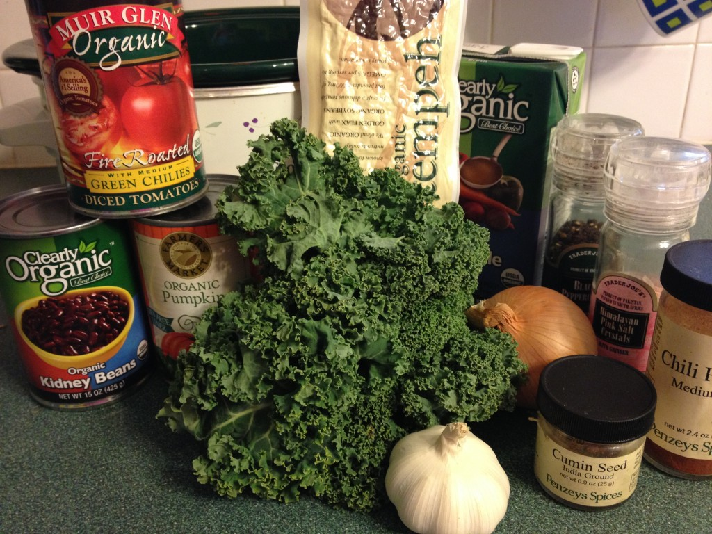 pumpkin kale chili in johnnas kitchen