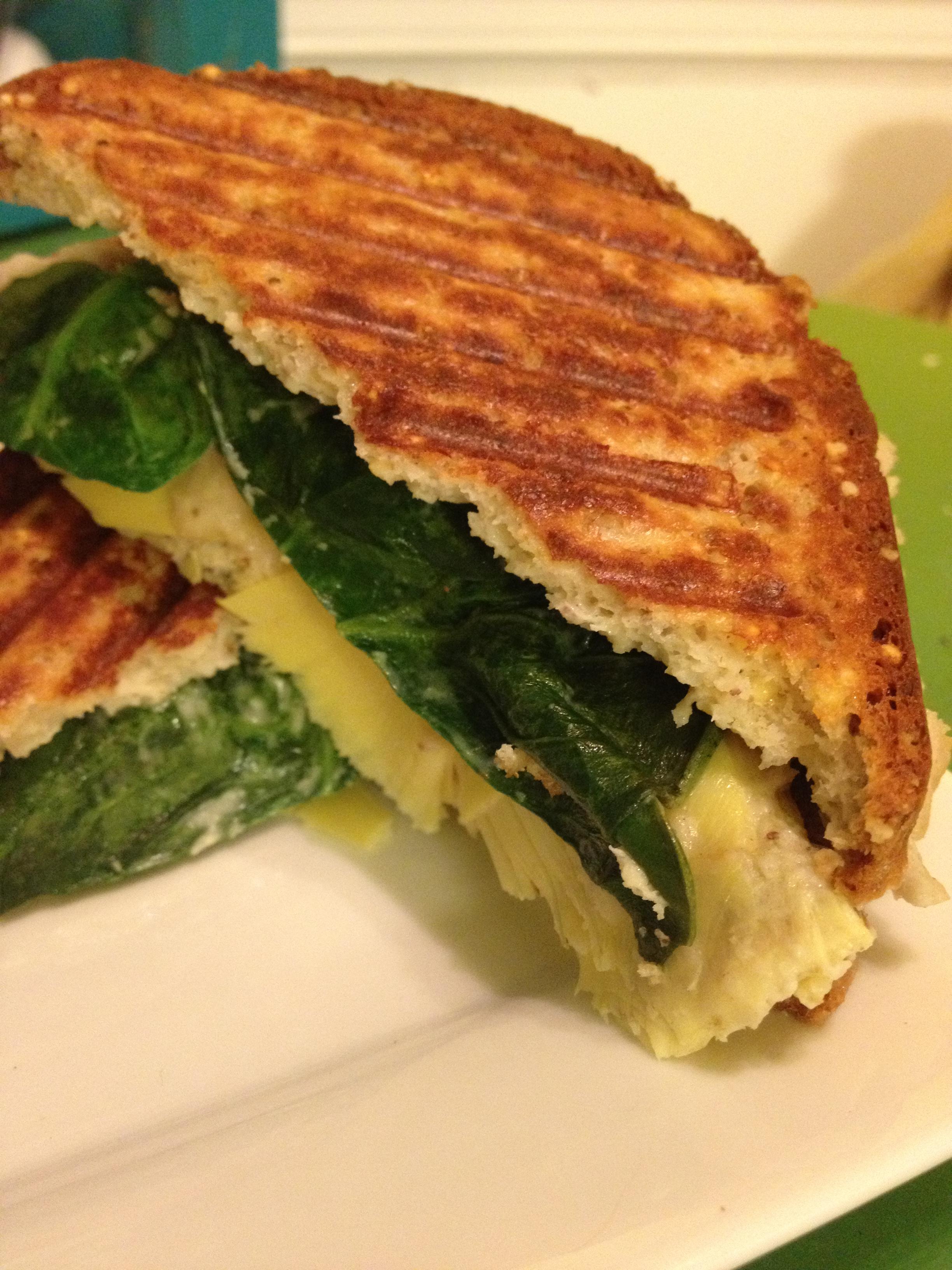 Spinach Artichoke Panini, Gluten-Free, Dairy-Free, Vegan