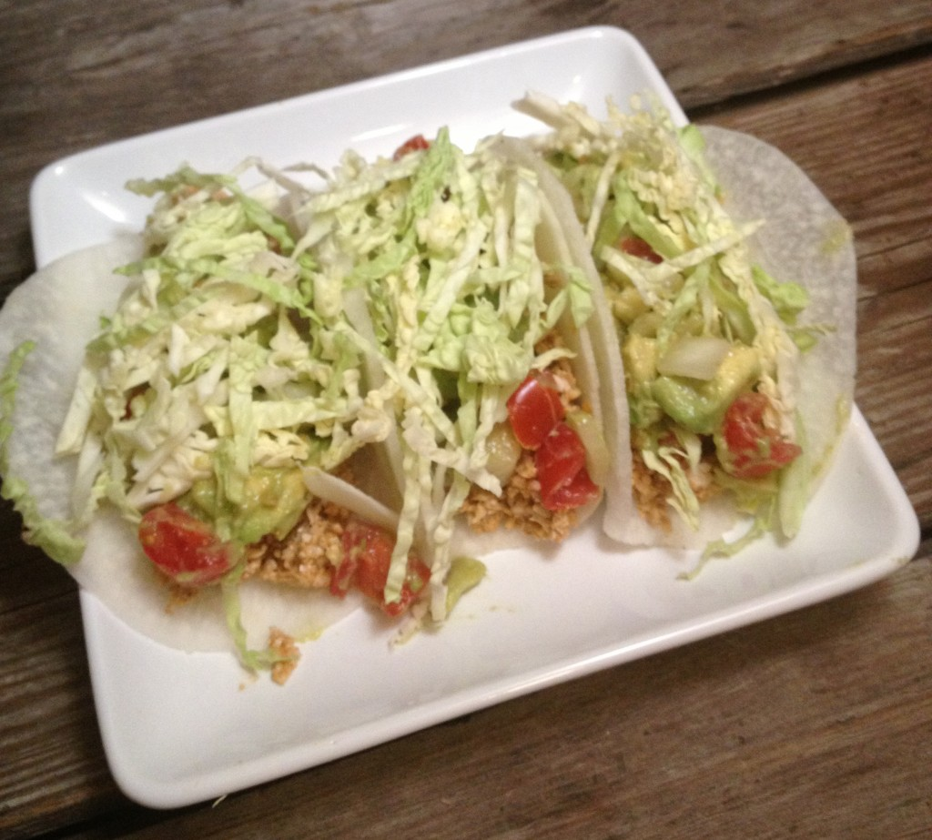 Sunny Tacos made with sunflower seed filling and jicama taco shells