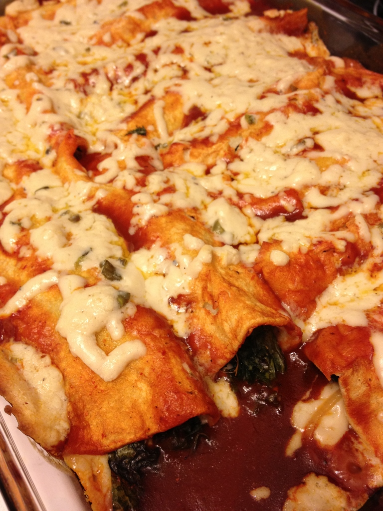 Kale, Cheese and Onion Enchiladas, Gluten-Free and Dairy-Free!