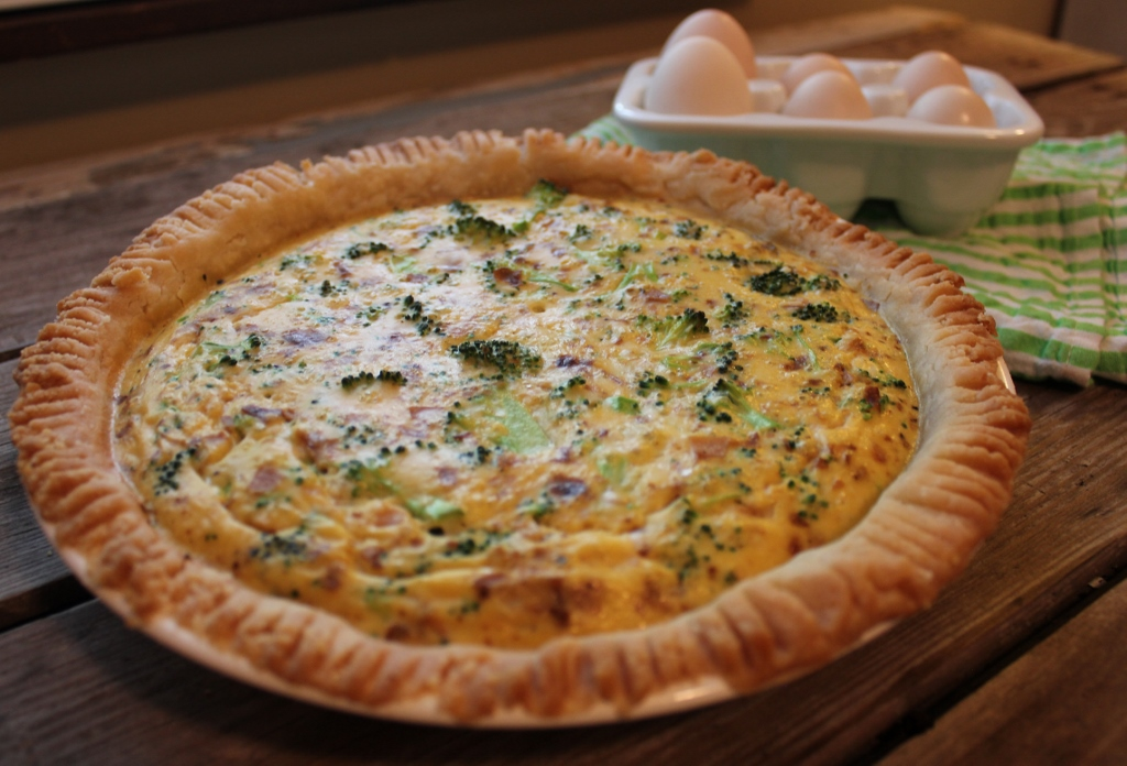 Cheesy Broccoli Bacon Quiche:Gluten-Free, Dairy-Free and Vegetarian!