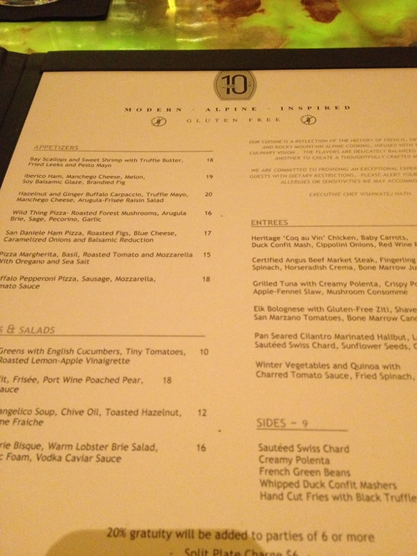 gluten free menu at the 10th vail