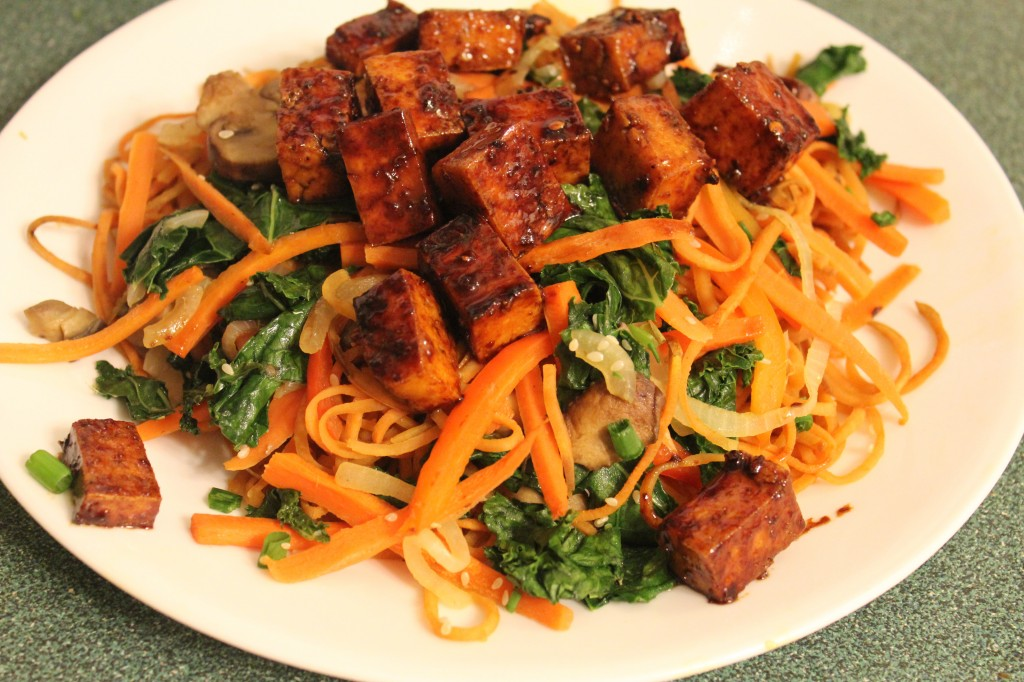 johnnas japchae with maple sesame tofu
