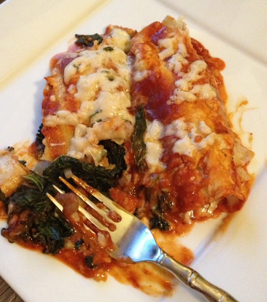 Kale, Cheese and Onion Enchiladas from In Johnna's Kitchen