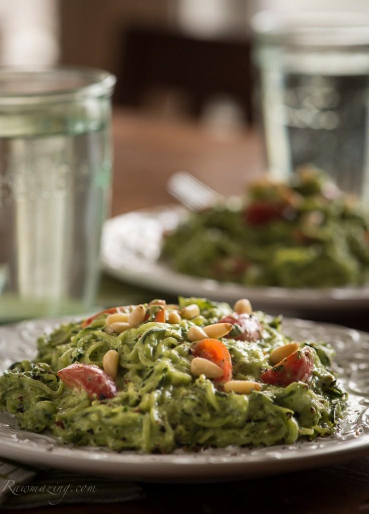 Rawmazing Avocado Kale Pesto with Zucchini Noodles