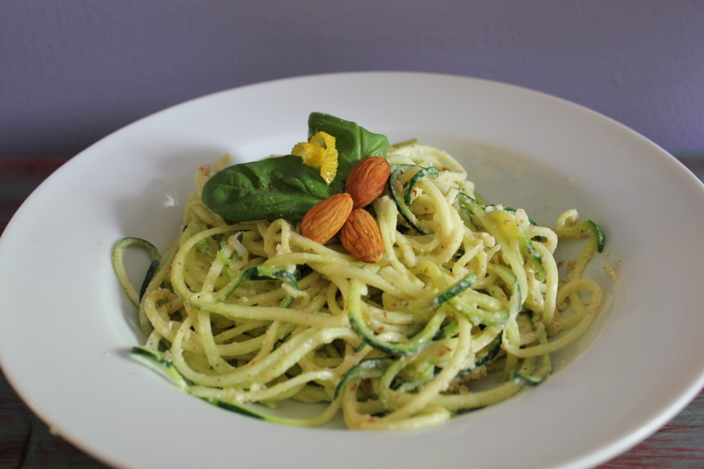 Lemon Almond Pesto with Zucchini Noodles | In Johnna's Kitchen