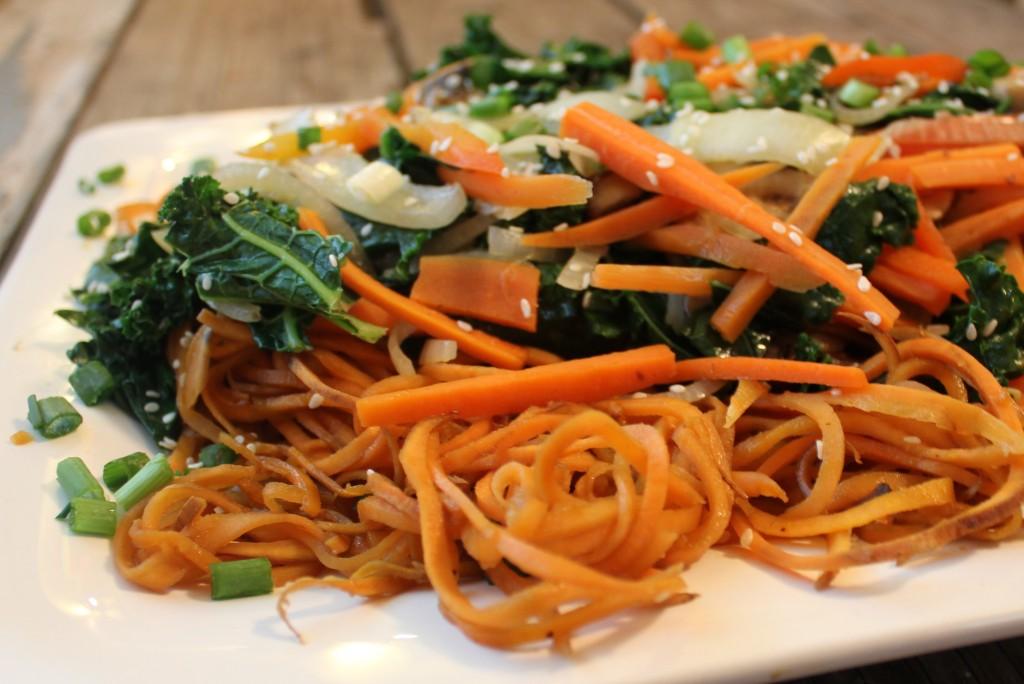 Johnna's Japchae with spiraled sweet potato noodles