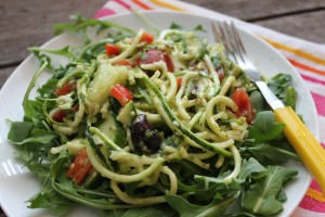 "Simple Summer Salad: Zucchini ""Pasta"" Salad with Creamy Avocado Dressing"