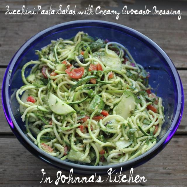 Zucchini Pasta Salad with Creamy Avocado Dressing | In Johnna's Kitchen