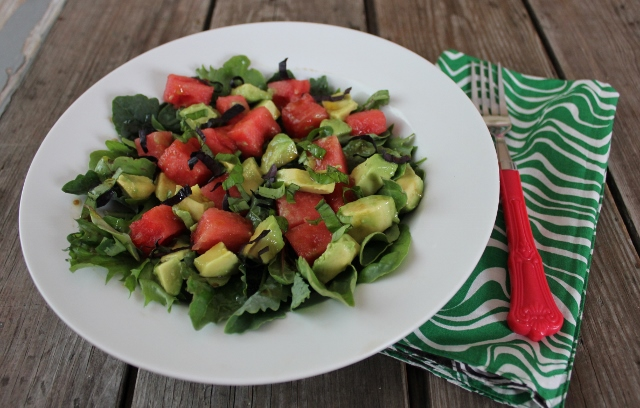watermelon avocado basil salad