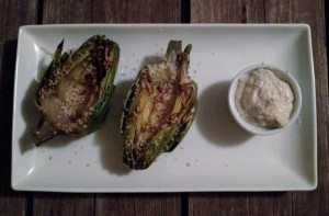 roasted artichokes with lemon garlic aioli in johnna's kitchen