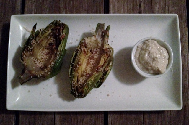 roasted artichokes with lemon garlic aioli in johnna's kitchen