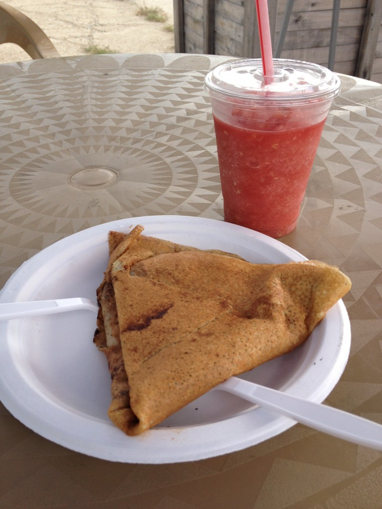 nutella and banana crepe with watermelon cucumber smoothie