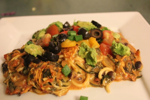 southwest zoodle bake topped in johnnas kitchen