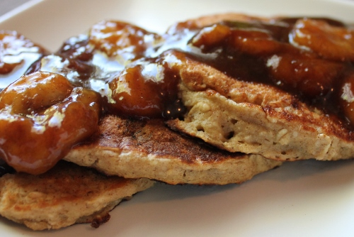 Banana Pancakes with Bananas Foster Topping, gluten-free and dairy-free