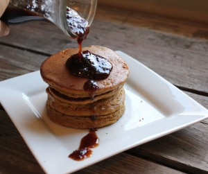 pumpkin pancakes with cranberry syrup in johnna's kitchen