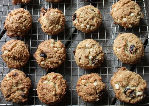 white choc cranberry ginger cookies in johnna's kitchen