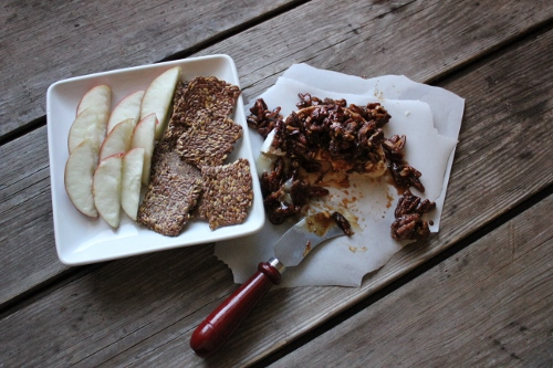 Goat Brie with apples and flax crackers  In Johnna's Kitchen