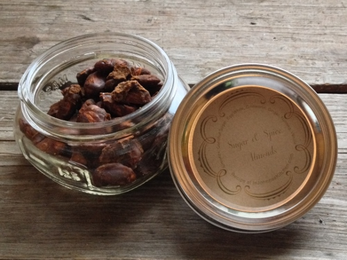 giftable jar of sugar and spice almonds In Johnna's Kitchen
