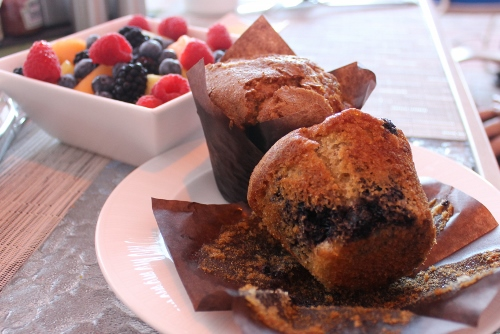 Gluten-Free Muffins and Fresh Fruit at Sea Porch | In Johnna's Kitchen