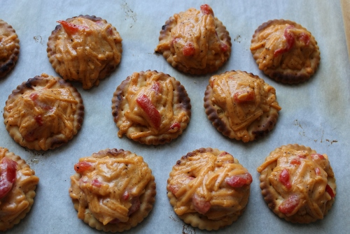pimento cheese on crackers In Johnna's Kitchen