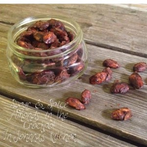 Sugar and Spice Candied Almonds or Pepitas in the Crockpot with a Gift Printable