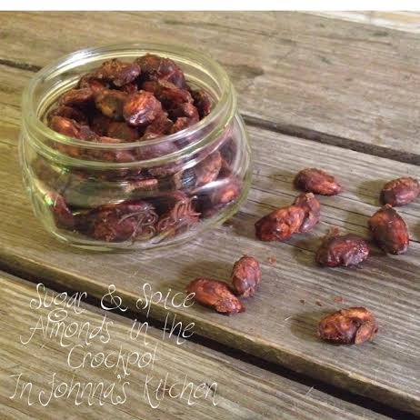 sugar and spice almonds in the crockpot   In Johnna's Kitchen