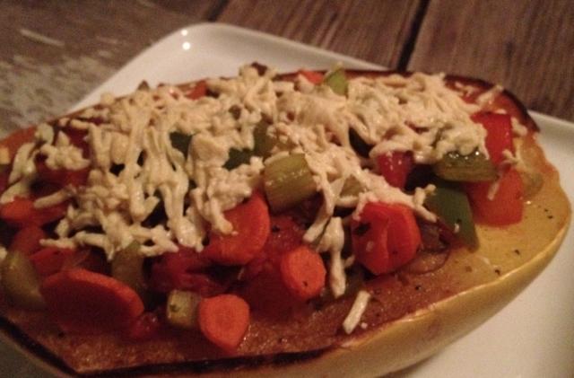 Chunky Vegetable Stuffed Spaghetti Squash  In Johnna's Kitchen