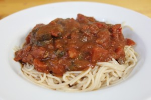 ALDI brown rice pasta with chunky tomato basil sauce