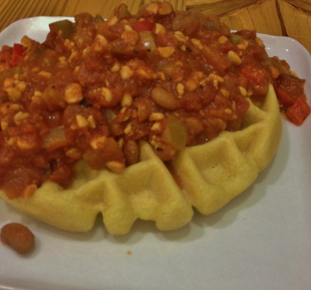 Chunky Veggie Chili with Cornbread Waffle | In Johnna's Kitchen