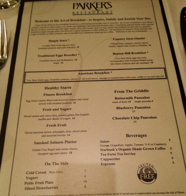 Gluten-Free Menu at Parkers Restaurant Boston