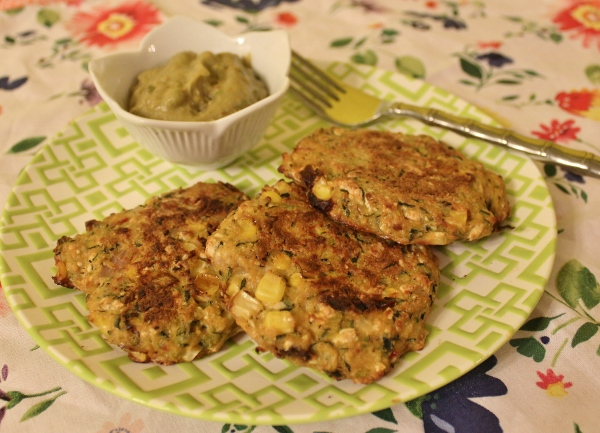 Baked Zucchini Fritters with Avocado Yogurt Dip