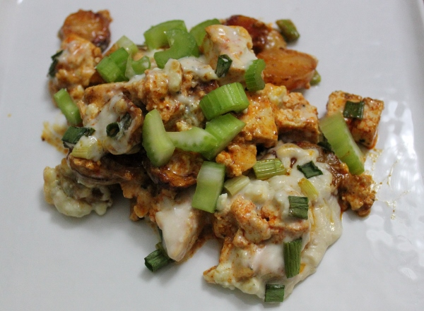 Buffalo Roasted Potato Tofu Casserole | In Johnna's Kitchen