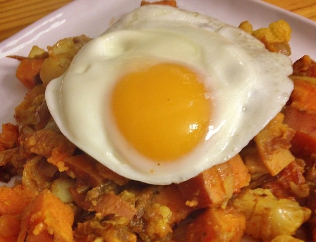 Curried Sweet Potato and Cauliflower Hash with a Fried Egg |In Johnna's Kitchen