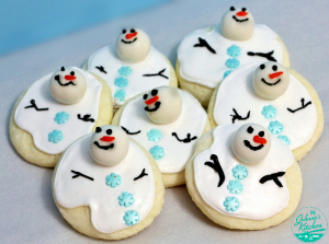 Gluten-Free Snowman cut out cookies| In Johnna's Kitchen