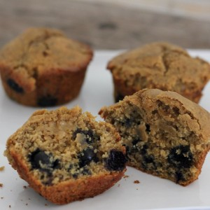 Blueberry Muffins For Two…Or Three  (gluten-free, dairy-free)