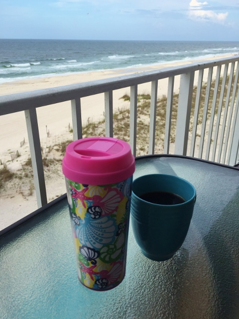 Coffee on Orange Beach Balcony View | In Johnna's Kitchen