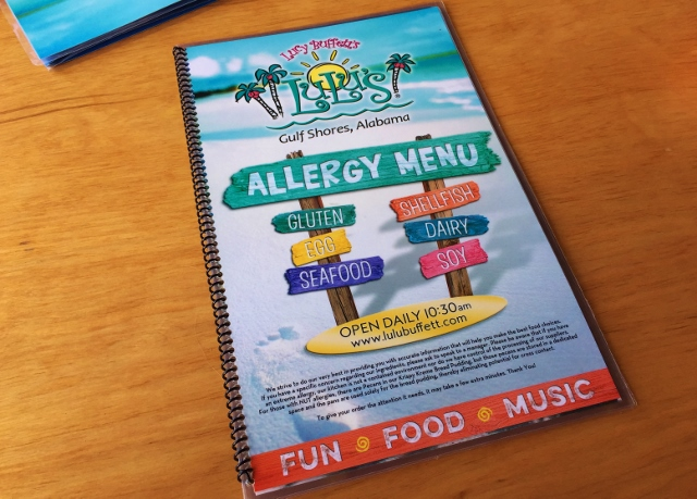 Allergy Menu, Lulu's at Homeport Marina