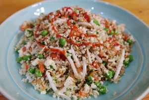 Cauliflower Fried Rice, No Bake.  Perfect for Hot Summer Dinners! (gluten-free, raw, vegan, paleo, grain-free)