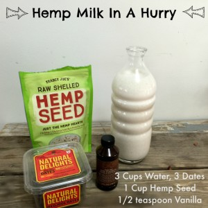 Hemp Milk In A Hurry: Make Your Own Dairy-Free Milk In Minutes