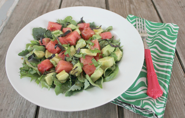 Watermelon Basil Avocado Salad | In Johnna's Kitchen